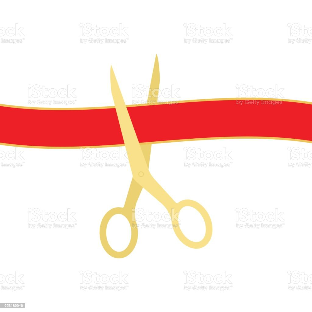 royalty free ribbon cutting clip art vector images illustrations rh istockphoto com ribbon cutting clipart free Ribbon Cutting Program