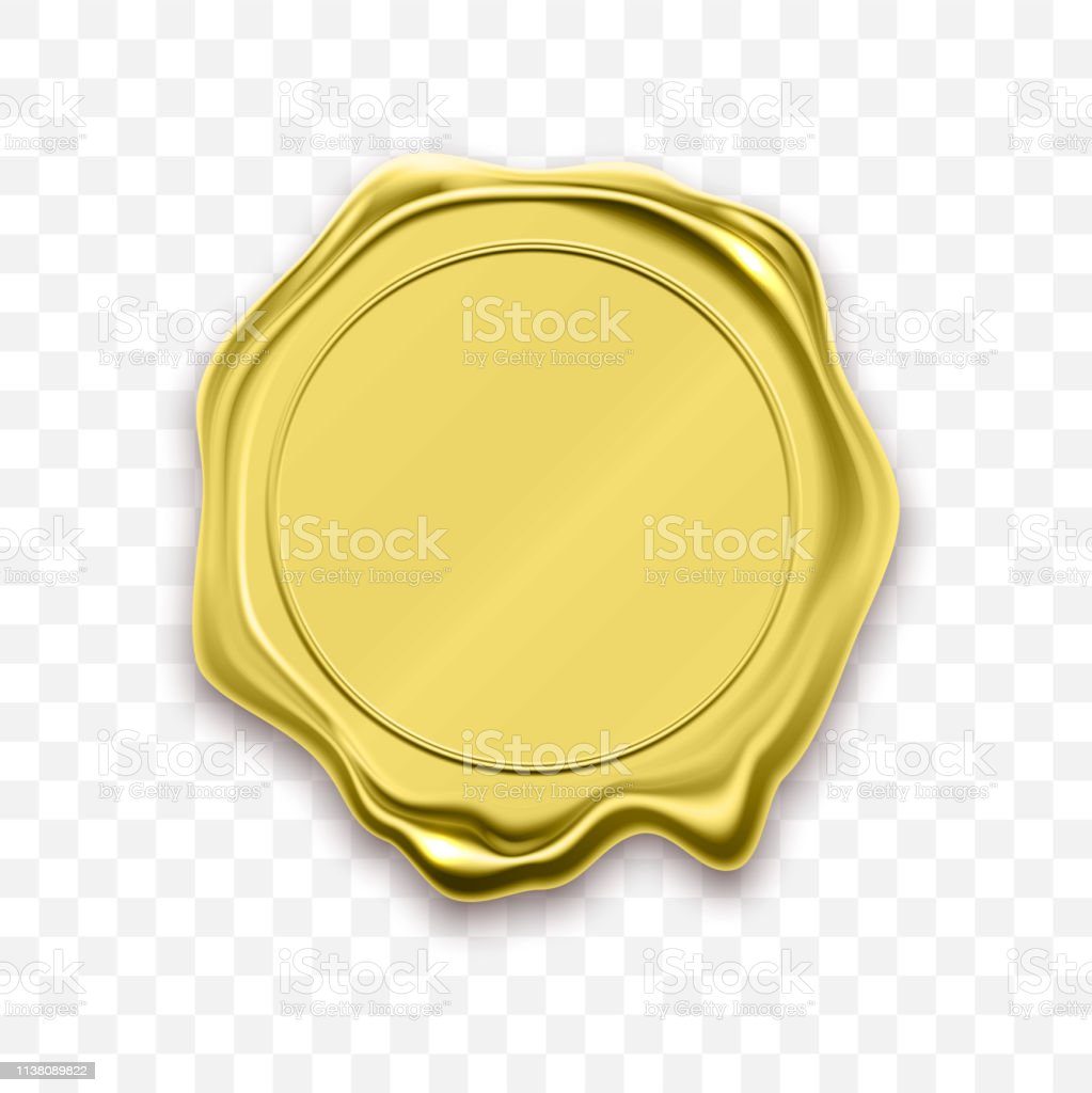 Golden seal, gold wax stamp. Vector quality guarantee certificate...