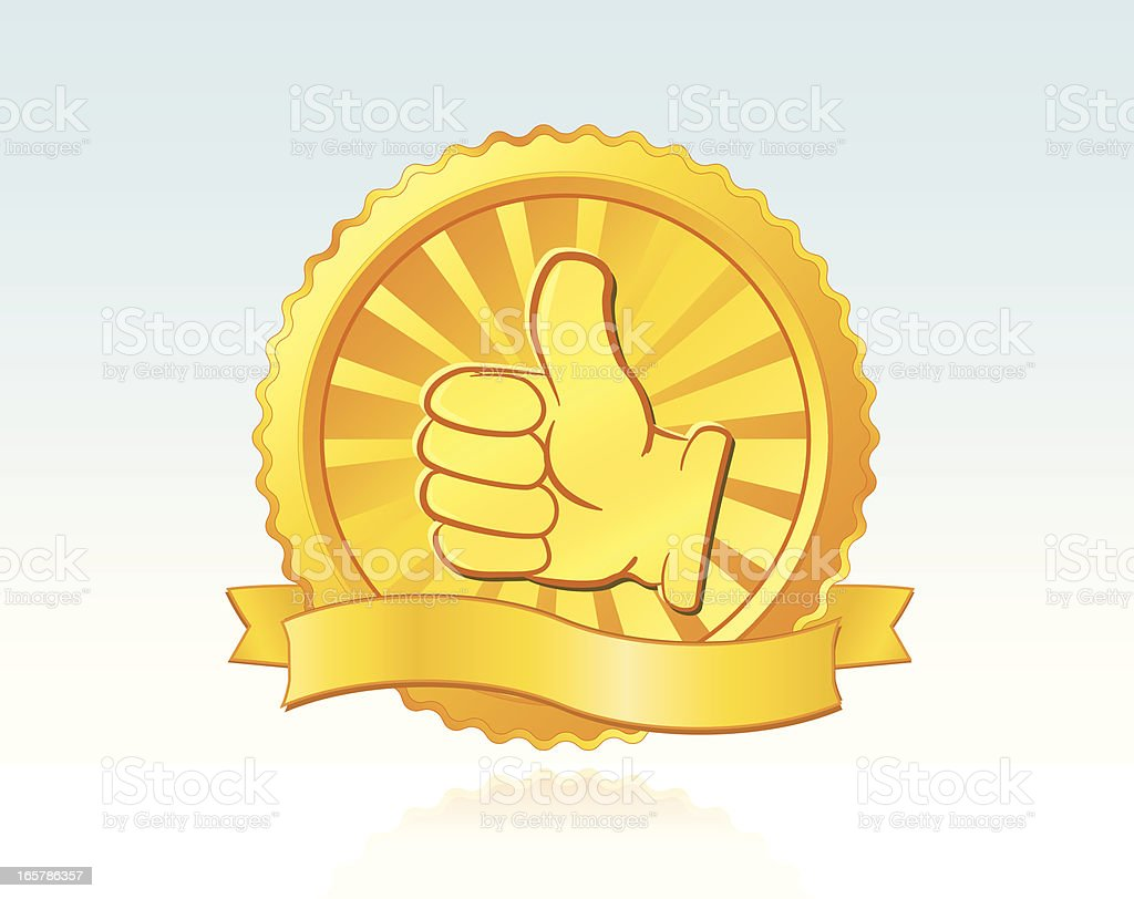 A golden seal of approval thumbs up royalty-free a golden seal of approval thumbs up stock vector art & more images of advertisement