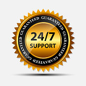 Golden seal template for 24/7 support isolated on white