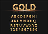 Golden set of alphabet and numbers. Vector illustration