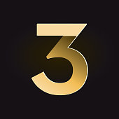 Vector illustration of a Alphabet Number with Golden shadows and gradients.