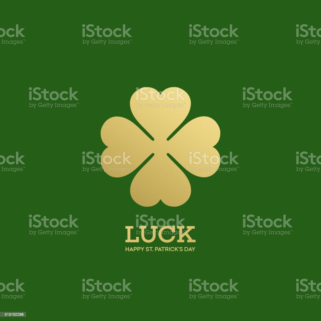 Golden Shamrock. Patrick day simbol. Vector illustration