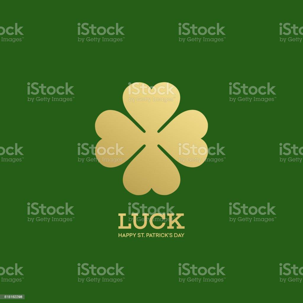 Golden Shamrock. Patrick day simbol. Vector illustration vector art illustration