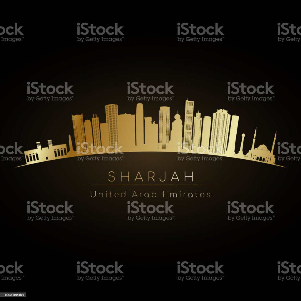 Golden Sharjah skyline. Vector silhouette illustration
