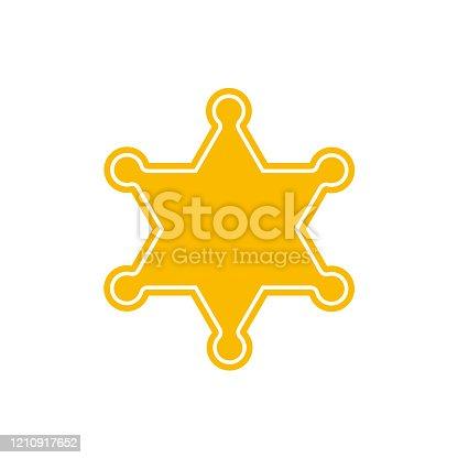 istock Golden sheriff star badge police on white background. Vector illustration 1210917652