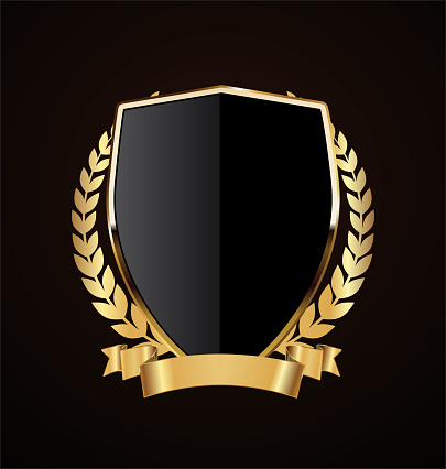 Golden shield retro design