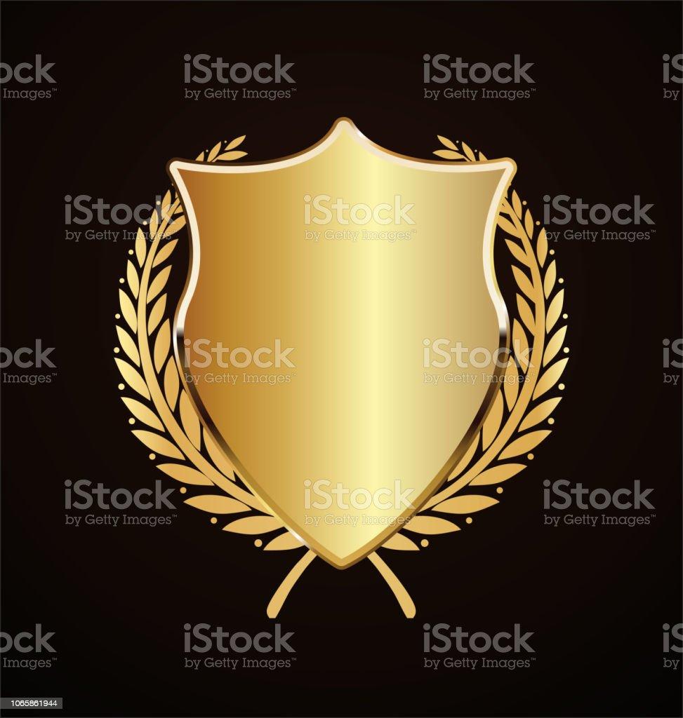Golden Shield Retro Design Stock Illustration - Download Image Now