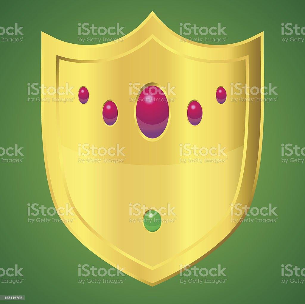 Golden shield vector art illustration