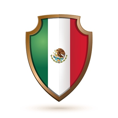 Golden shield with Mexico flag isolated on white