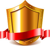 Golden shield with red ribbon isolated vector