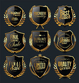 Golden shields and laurel wreaths retro design collection