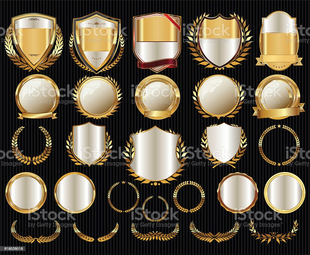 Golden shields laurel wreaths and badges collection - Illustration vectorielle