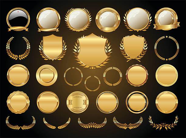 złote tarcze wieńce laurowe i identyfikatory kolekcja - insygnia stock illustrations