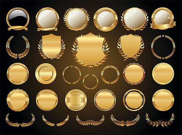 Golden shields laurel wreaths and badges collection​​vectorkunst illustratie