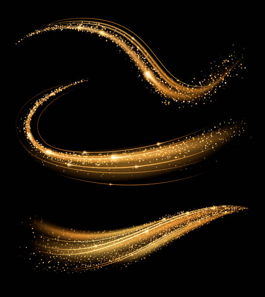 Golden shimmering waves with light effect isolated on black background. Glittering star dust trail. Abstract motion. Magic swirl lines. celebrities stock illustrations