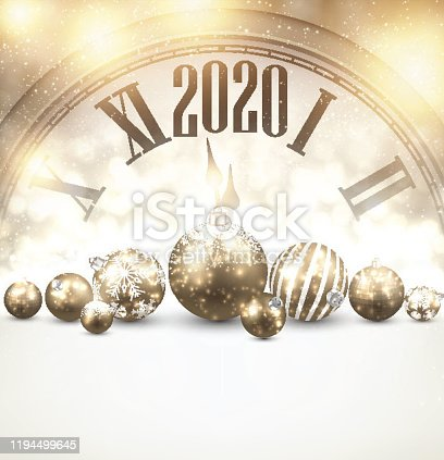 istock Golden shining 2020 New Year background with clock. 1194499645