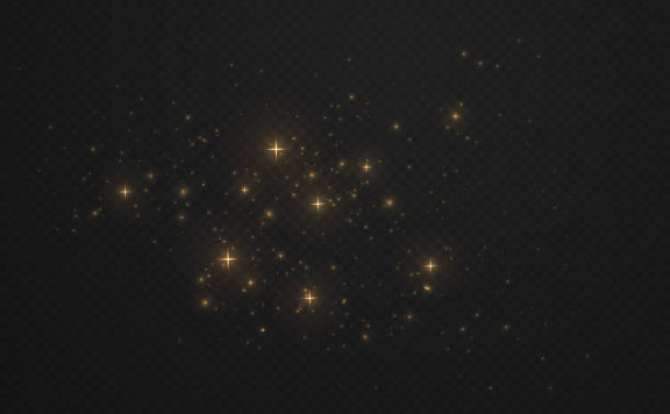 golden shining sparks dust with stars on dark transparent background. christmas light glowing particles. - paranormalny stock illustrations