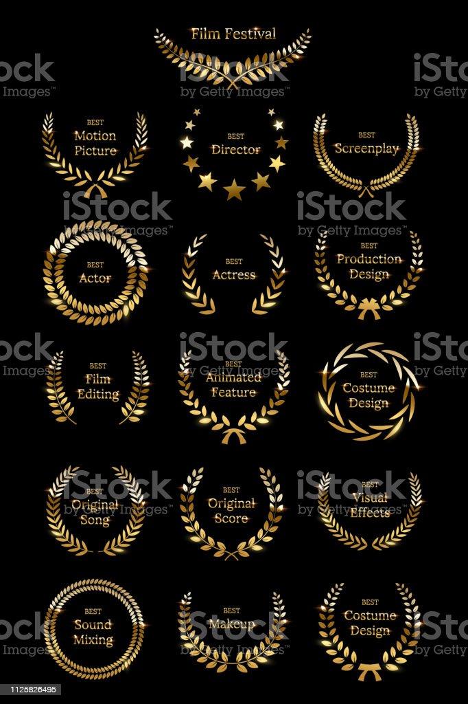 Golden shiny award laurel wreaths isolated on black background. Vector Film Awards design elements. royalty-free golden shiny award laurel wreaths isolated on black background vector film awards design elements stock illustration - download image now