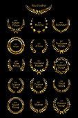 Golden shiny award laurel wreaths isolated on black background. Vector Film Awards design elements