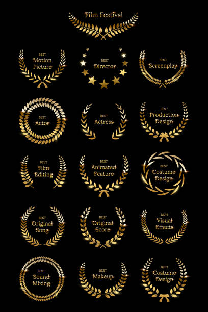 Golden shiny award laurel wreaths isolated on black background. Vector Film Awards design elements. Golden shiny award laurel wreaths isolated on black background. Vector Film Awards design elements awards ceremony stock illustrations