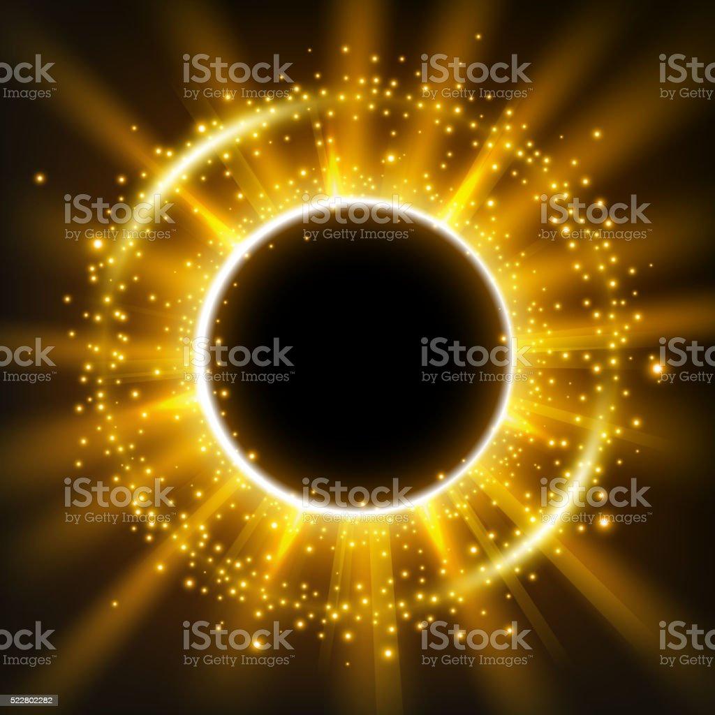 Oro Brillante Círculo Marco Con Brillantes Partículas De Polvo ...