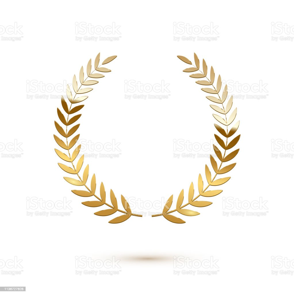 Golden shiny laurel wreath isolated on white background. Vector...