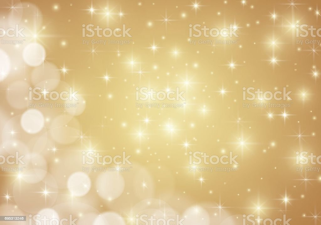 Golden shiny lights star background vector art illustration