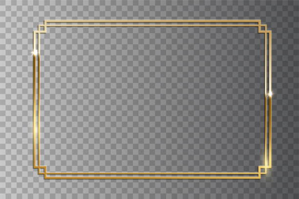 Golden shiny retro frame isolated on transparent background. Vector vintage design element. Golden shiny retro frame isolated on transparent background. Vector vintage design element frame border stock illustrations