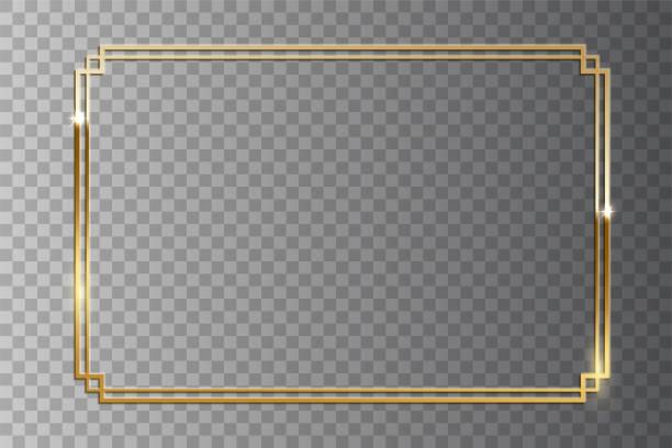 stockillustraties, clipart, cartoons en iconen met gouden glanzend retro frame geïsoleerd op transparante achtergrond. vintage design vectorelement. - constructiegeraamte