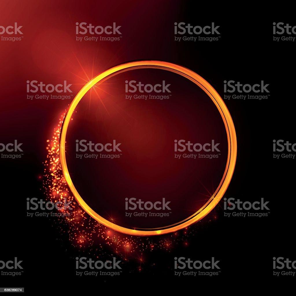 Golden shiny rings. Glowing stellar dust. vector art illustration