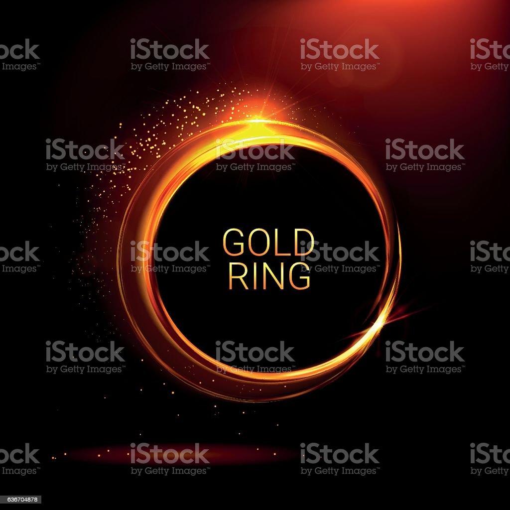 Golden shiny rings. Ornate vector banner. Light effects vector art illustration