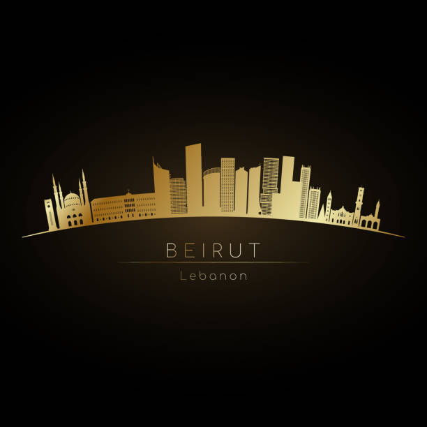 golden sign beirut skyline. vector silhouette illustration - beirut stock illustrations