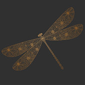 Golden silhouette of a dragonfly on a gray background. Vector illustration. Linear style. Hand drawn. Insect for your design.