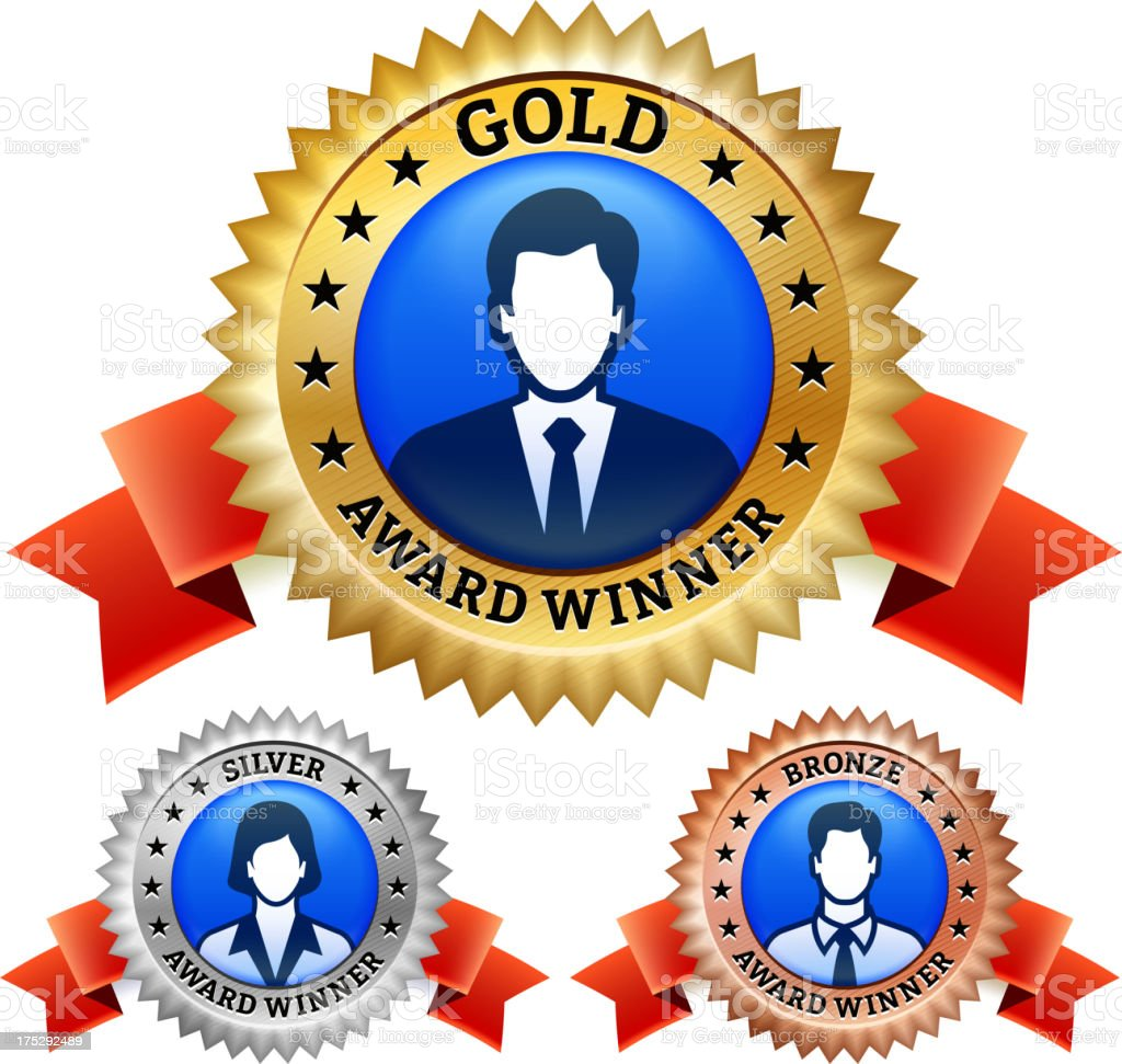 Golden, Silver and Bronze Award Banners Business Concept royalty-free stock vector art