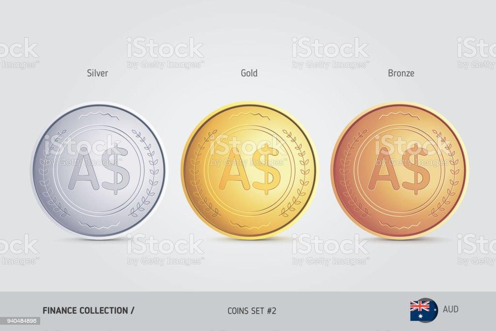 Golden Silber Und Bronze Münzen Realistische Metallischen