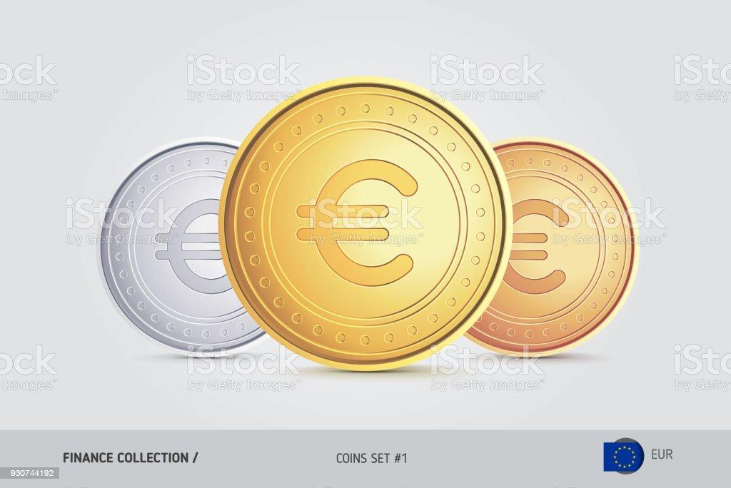 Golden Silber Und Bronze Münzen Realistische Metallischen Euro