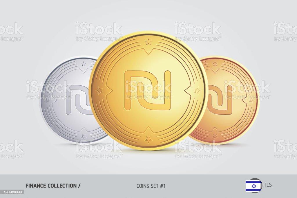 Golden Silver And Bronze Coins Realistic Metallic Israeli New Shekel