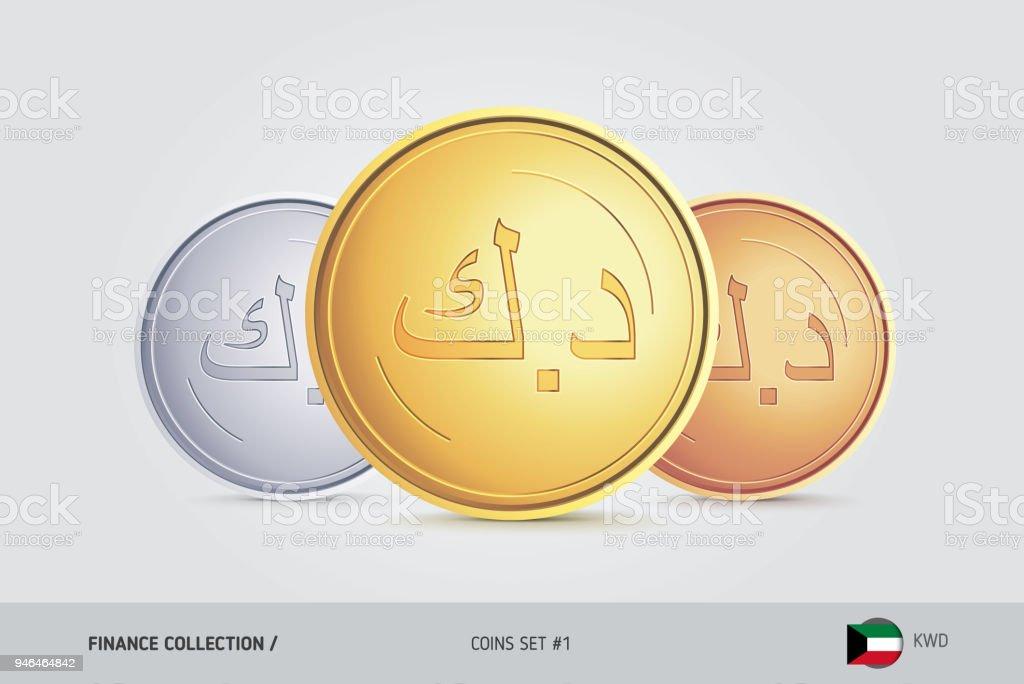 Golden Silver And Bronze Coins Realistic Metallic Kuwaiti Dinar
