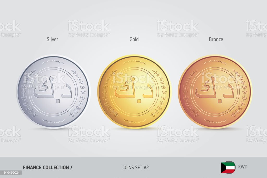 Golden silver and bronze coins realistic metallic kuwaiti dinar golden silver and bronze coins realistic metallic kuwaiti dinar coins set isolated objects m4hsunfo
