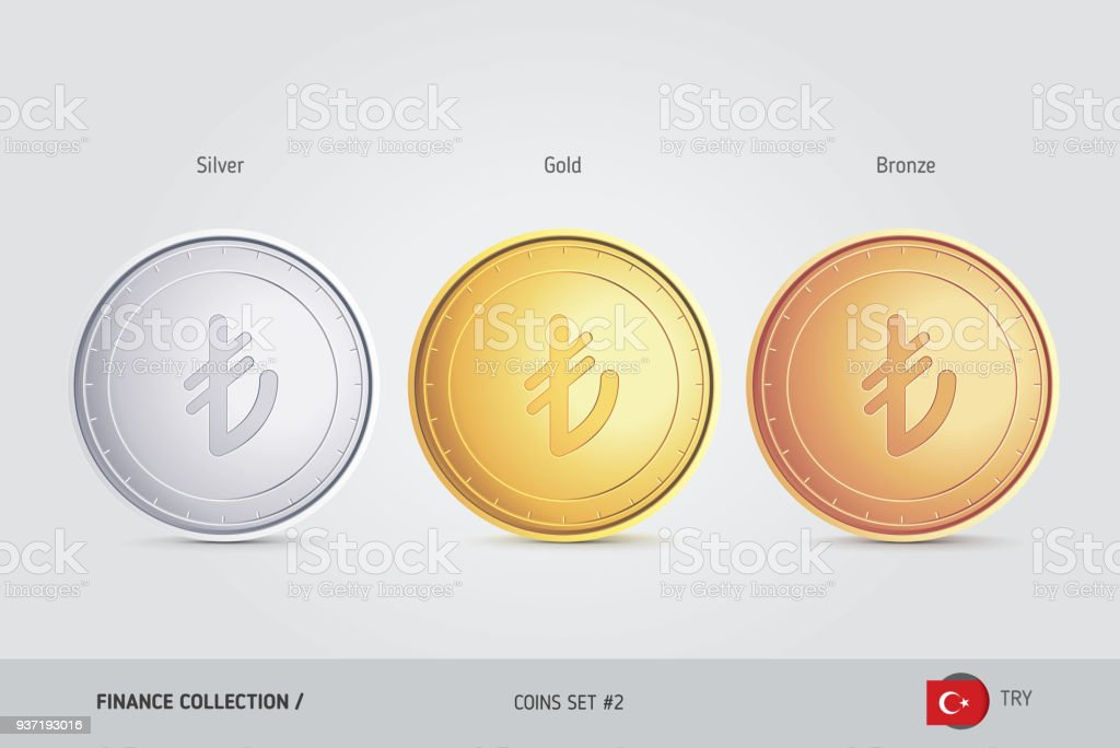 Golden Silber Und Bronze Münzen Realistische Metallischen Türkische