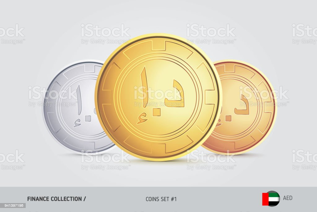 Golden Silver And Bronze Coins Realistic Metallic United Arab