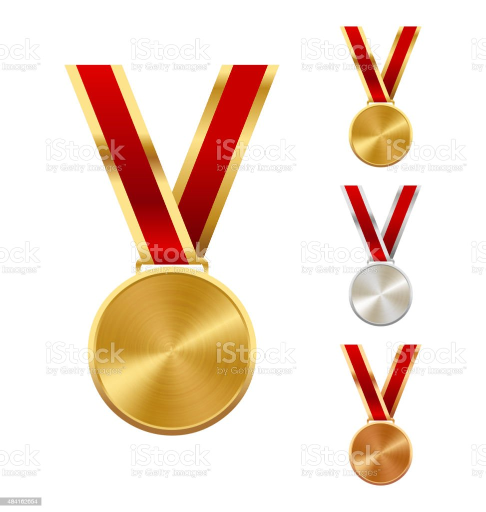 Golden Silver and Bronze Festive Winners Medals Isolated on Whit vector art illustration