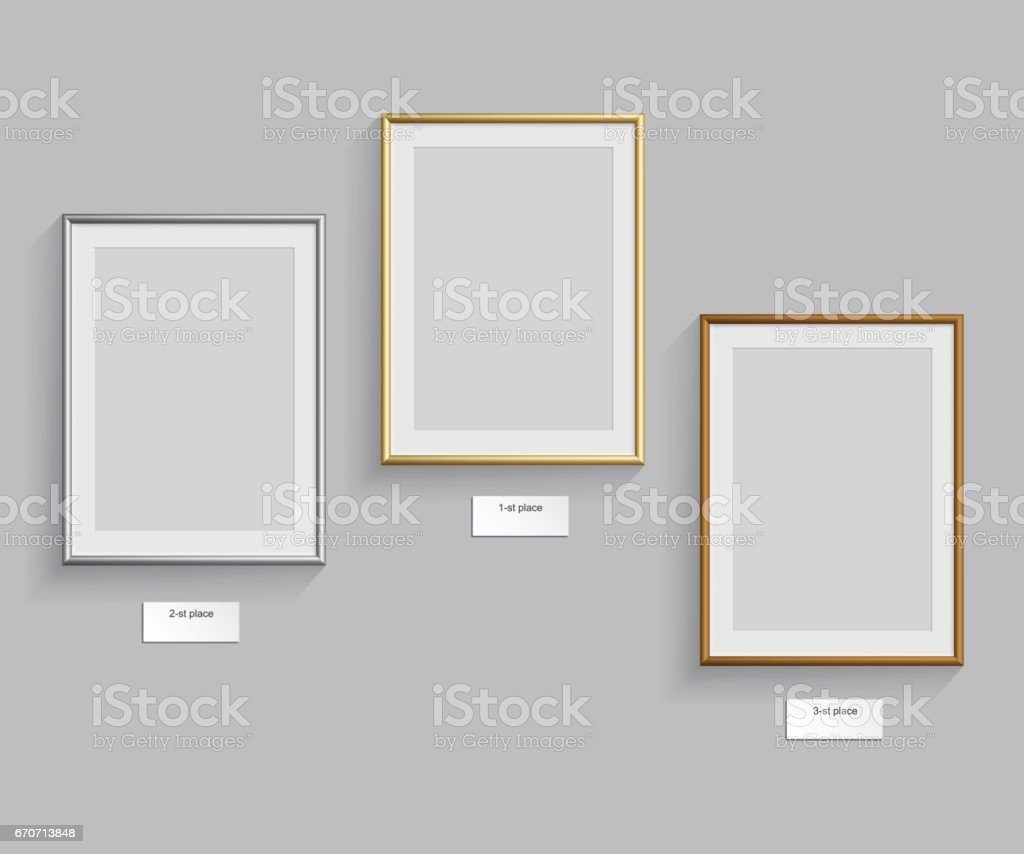 Golden, silver and bronze frames isolated on grey background. Vector illustration. Podium frames. vector art illustration
