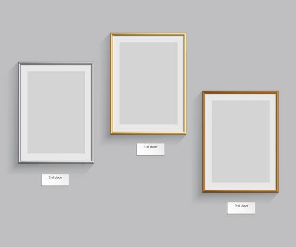 golden, silver and bronze frames isolated on grey background. vector illustration. podium frames. - picture frame borders stock illustrations, clip art, cartoons, & icons