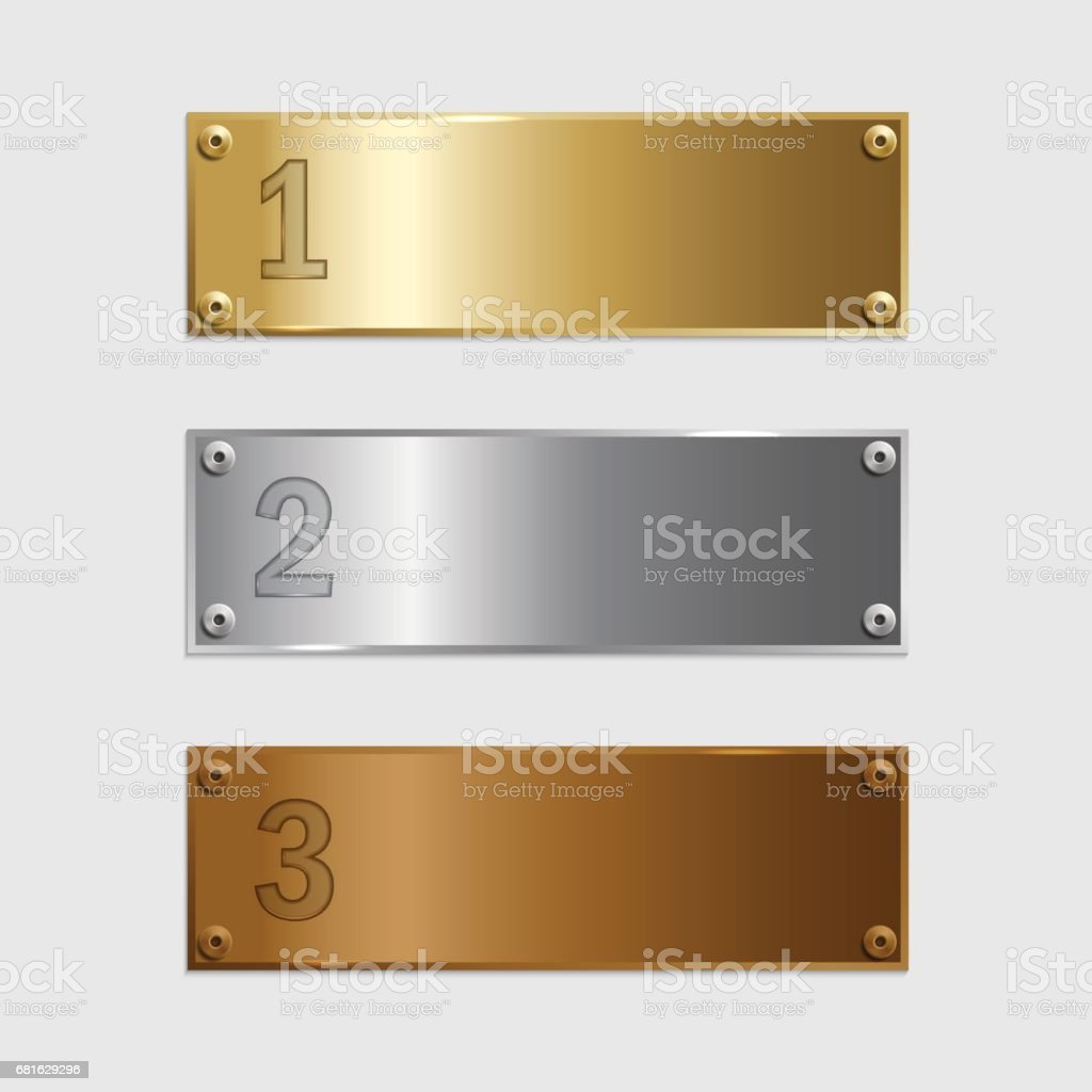 Golden, silver and bronze podium plates isolated on grey background. Vector illustration. vector art illustration