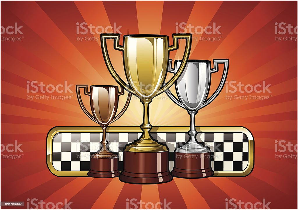 Golden Silver and Bronze Racing Trohpies - Vectori Illustration royalty-free stock vector art