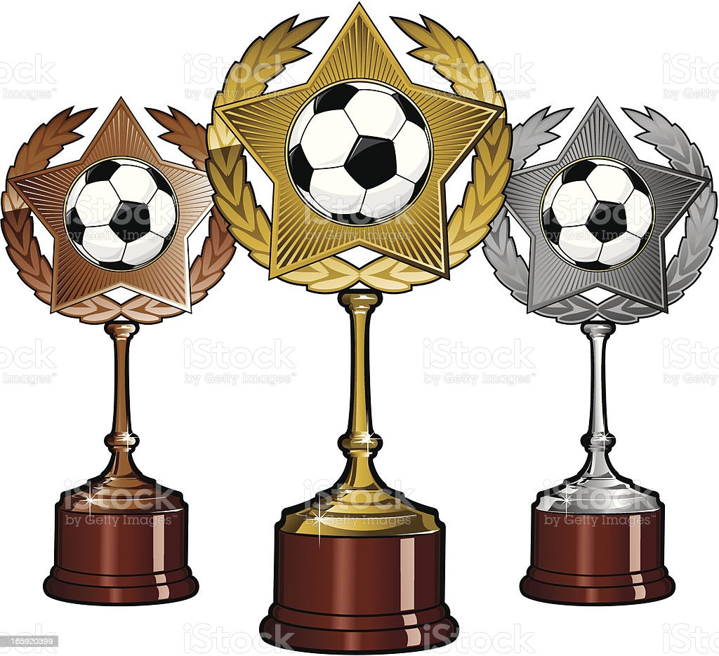 Golden Silver and Bronze Soccer Trophies royalty-free golden silver and bronze soccer trophies stock vector art & more images of achievement