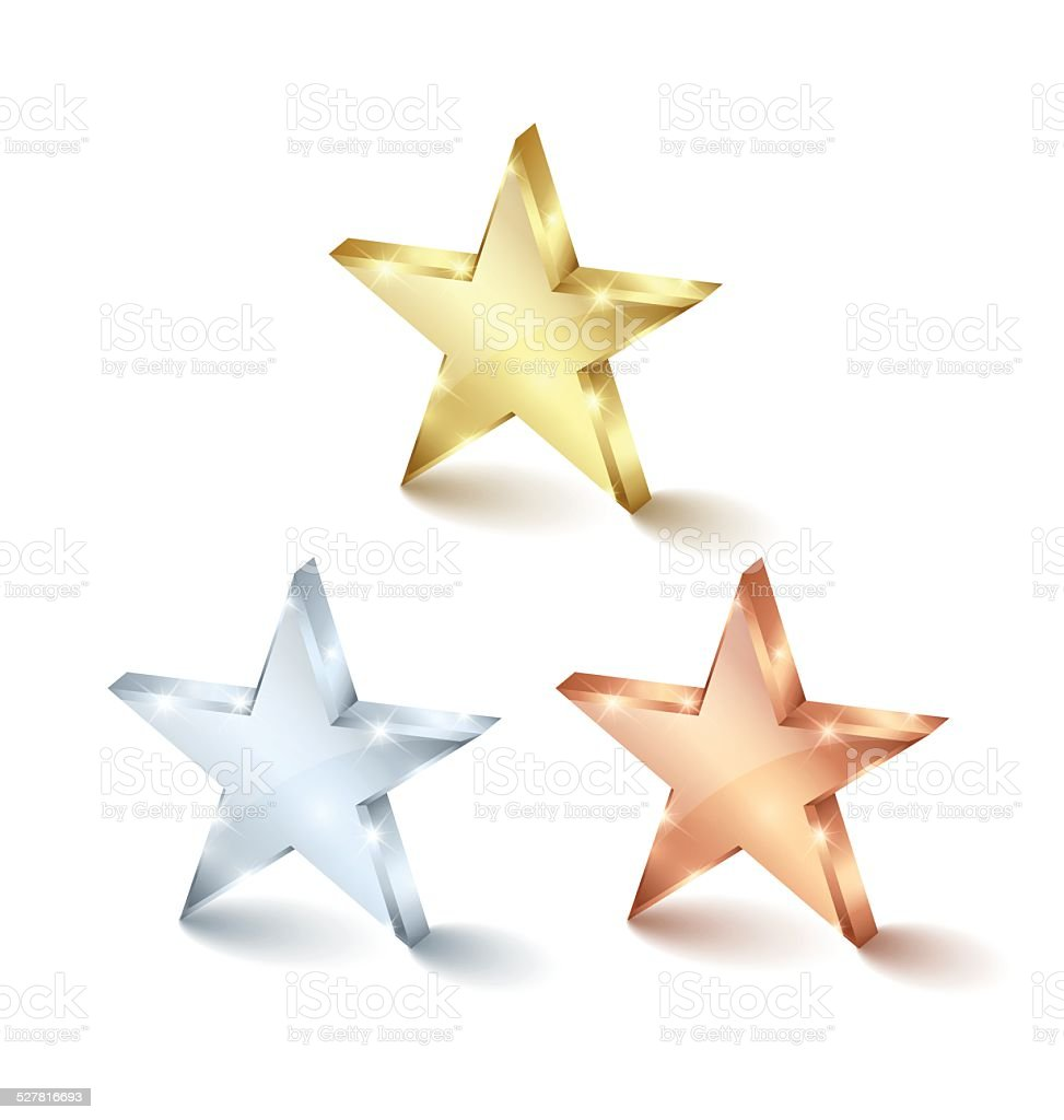 Golden silver and bronze stars vector art illustration
