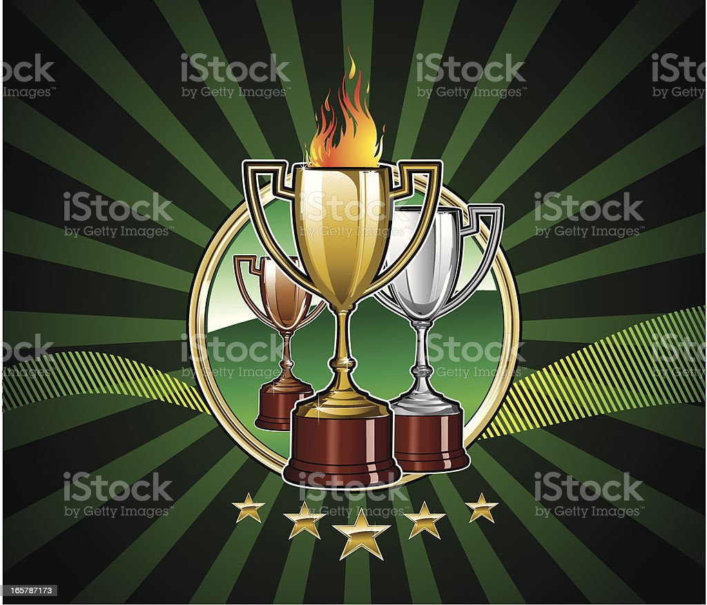 Golden, Silver and Bronze Trophies royalty-free stock vector art